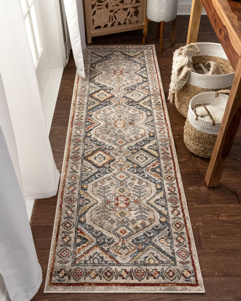 Pavia Traditional Aztec Tribal Blue Flatweave High-Low Rug