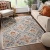 Aleria Traditional Floral Geometric Beige Grey Multi Flatweave High-Low Rug