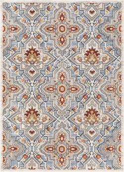 Aleria Traditional Floral Geometric Blue Flatweave High-Low Rug