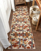 Bergamo Bohemian Floral Botanical Red-Rust Multi Flatweave High-Low Rug