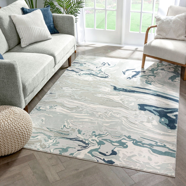Alden Blue Vintage Abstract Watercolor High-Low Rug