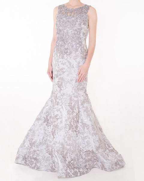 LONG JACQUARD PEARL DRESS - SILVER