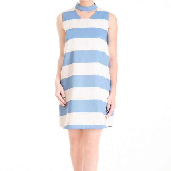 STRIPE DRESS WITH CHOKER - SKY BLUE