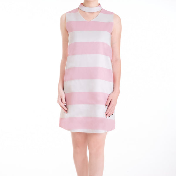 STRIPE DRESS WITH CHOKER - BABY PINK