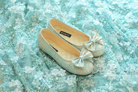 JACQUARD FLAT SHOES WITH RIBBONS - TURQUOISE
