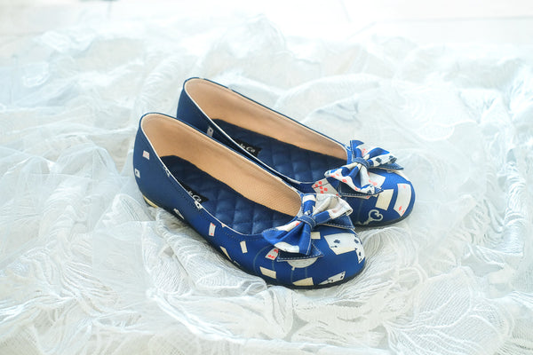 ALICE IN WONDERLAND SATIN FLAT SHOES WITH RIBBONS - NAVY
