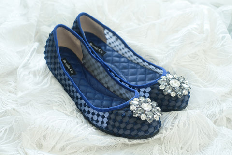 DIOR DOTTED LACE FLAT SHOES WITH SWAROVSKI CRYSTAL - NAVY
