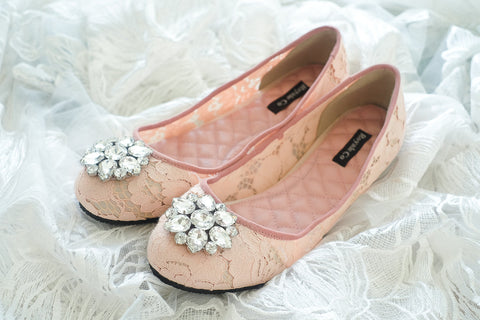 DOLCEA LACE FLAT SHOES WITH SWAROVSKI CRYSTAL - PEACH