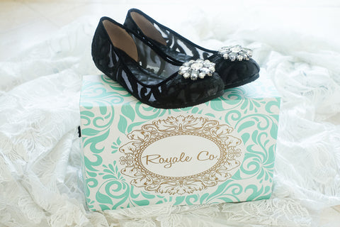 DOLCEA JACQUARD FLAT SHOES WITH SWAROVSKI CRYSTAL - BLACK