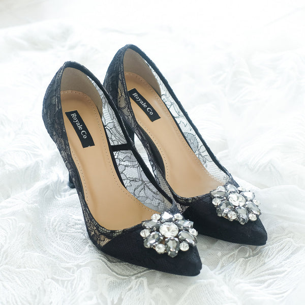 MADEMOISELLE CHANTILLY LACE POINTED HEELS 9CM WITH SWAROVSKI CRYSTAL - BLACK