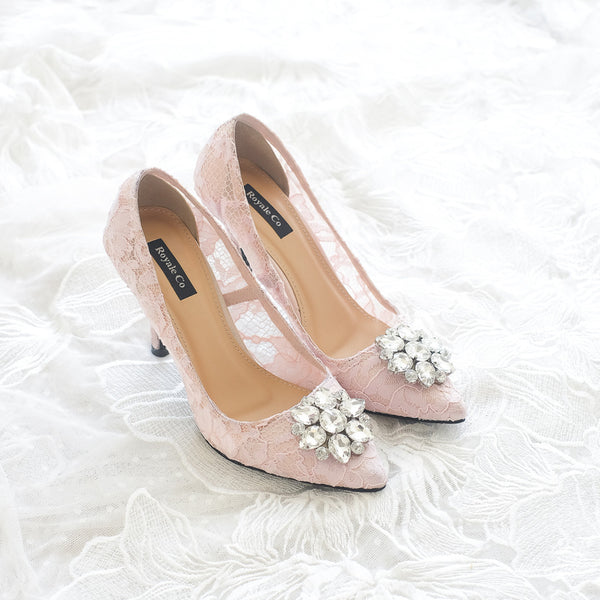 MADEMOISELLE LACE POINTED HEELS 9CM WITH SWAROVSKI CRYSTAL - BABY PINK