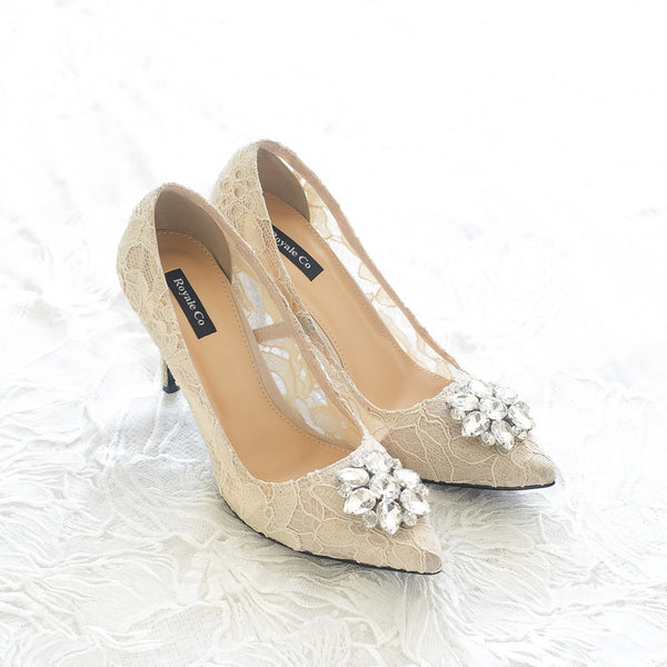 MADEMOISELLE LACE POINTED HEELS 9CM WITH SWAROVSKI CRYSTAL - NUDE