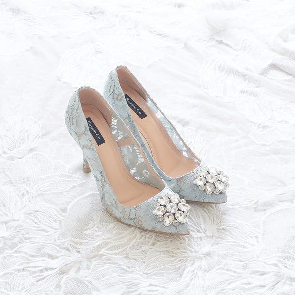 MADEMOISELLE LACE POINTED HEELS 9CM WITH SWAROVSKI CRYSTAL - BABY BLUE