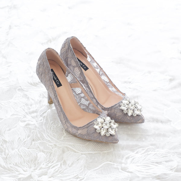 MADEMOISELLE LACE POINTED HEELS 9CM WITH SWAROVSKI CRYSTAL - GREY