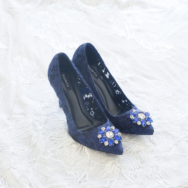 MADEMOISELLE LACE POINTED HEELS 9CM WITH SWAROVSKI CRYSTAL - NAVY