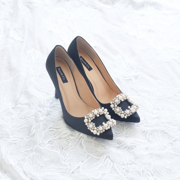 COCO SATIN POINTED HEELS 9CM WITH PEARL CRYSTAL - BLACK