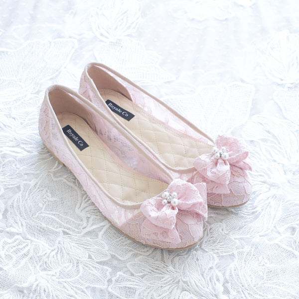 RIBBON LACE FLAT SHOES WITH PEARL & CRYSTAL - BABY PINK