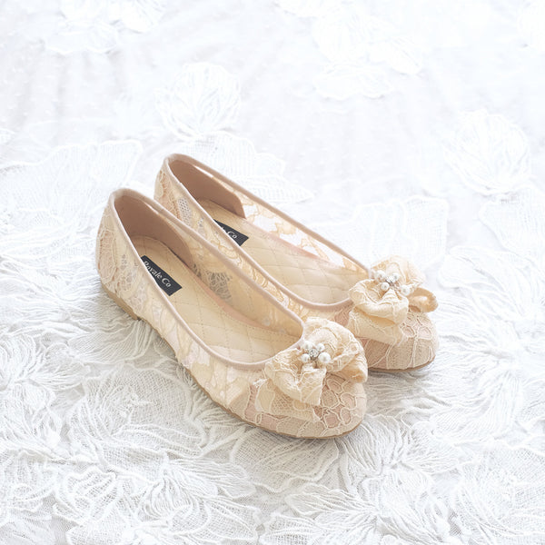 RIBBON LACE FLAT SHOES WITH PEARL & CRYSTAL - NUDE