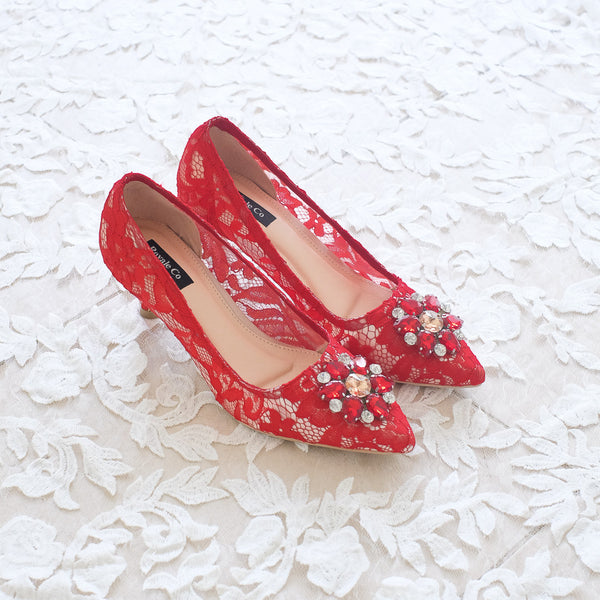 MADEMOISELLE LACE POINTED HEELS 5CM WITH SWAROVSKI CRYSTAL - RED
