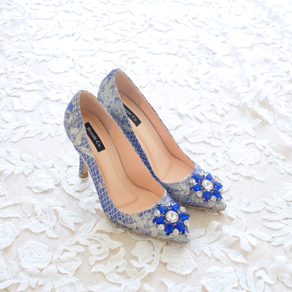 MADEMOISELLE JACQUARD POINTED HEELS 9CM WITH SWAROVSKI CRYSTAL - BLUE GOLD