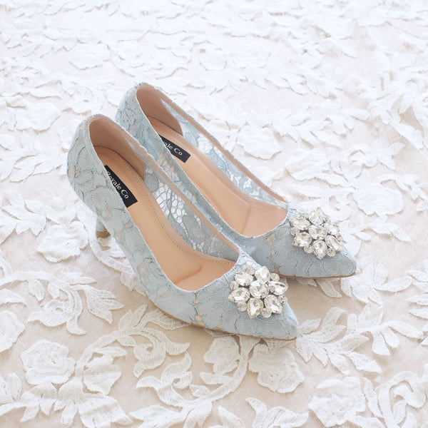 MADEMOISELLE LACE POINTED HEELS 7CM WITH SWAROVSKI CRYSTAL - BABY BLUE