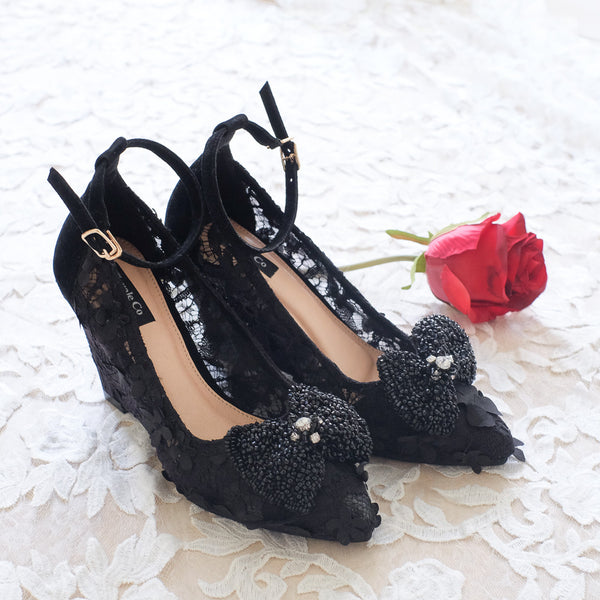 CAMELLIA POINTED SUEDE ANKLE STRAP WEDGES 9CM WITH RIBBON BEADS SWAROVSKI CLIP - BLACK