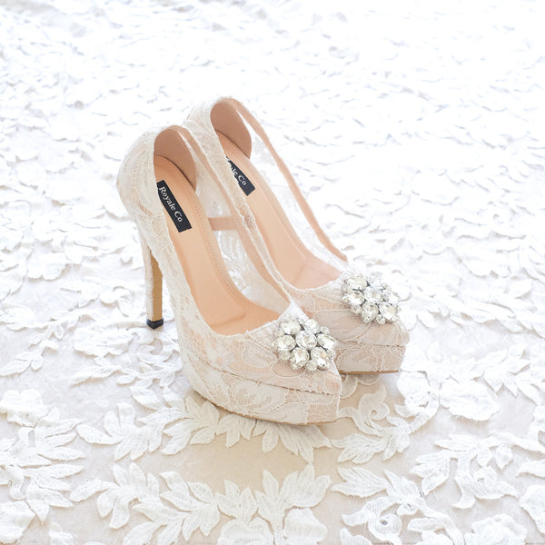 MADEMOISELLE LACE POINTED DOUBLE PLATFORM HEELS 14CM WITH SWAROVSKI CRYSTAL - WHITE