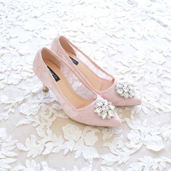 MADEMOISELLE LACE POINTED HEELS 7CM WITH SWAROVSKI CRYSTAL - BABY PINK