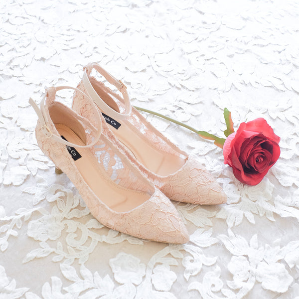 LACE POINTED HEELS 5CM WITH SUEDE ANKLE STRAP - NUDE