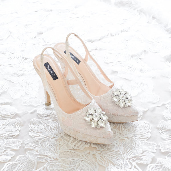 MADEMOISELLE LACE POINTED DOUBLE PLATFORM SLINGBACK HEELS 12CM WITH SWAROVSKI CRYSTAL - WHITE