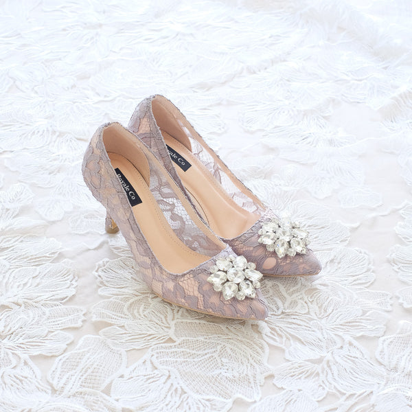 MADEMOISELLE LACE POINTED HEELS 7CM WITH SWAROVSKI CRYSTAL - GREY