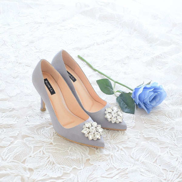 MADEMOISELLE SATIN POINTED HEELS 9CM WITH SWAROVSKI CRYSTAL - GREY