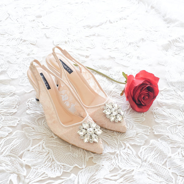 MADEMOISELLE LACE POINTED SLINGBACK HEELS 7CM WITH SWAROVSKI CRYSTAL - NUDE
