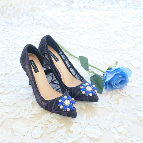 ARROW LACE POINTED HEELS 9CM WITH SWAROVSKI CRYSTAL - NAVY BLUE