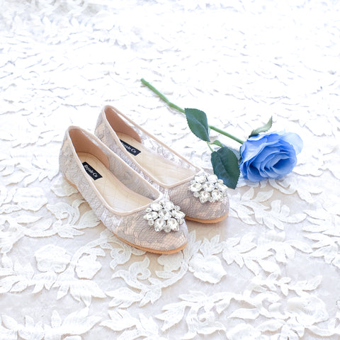 BALLET LACE FLAT SHOES WITH SWAROVSKI CRYSTAL - GREY