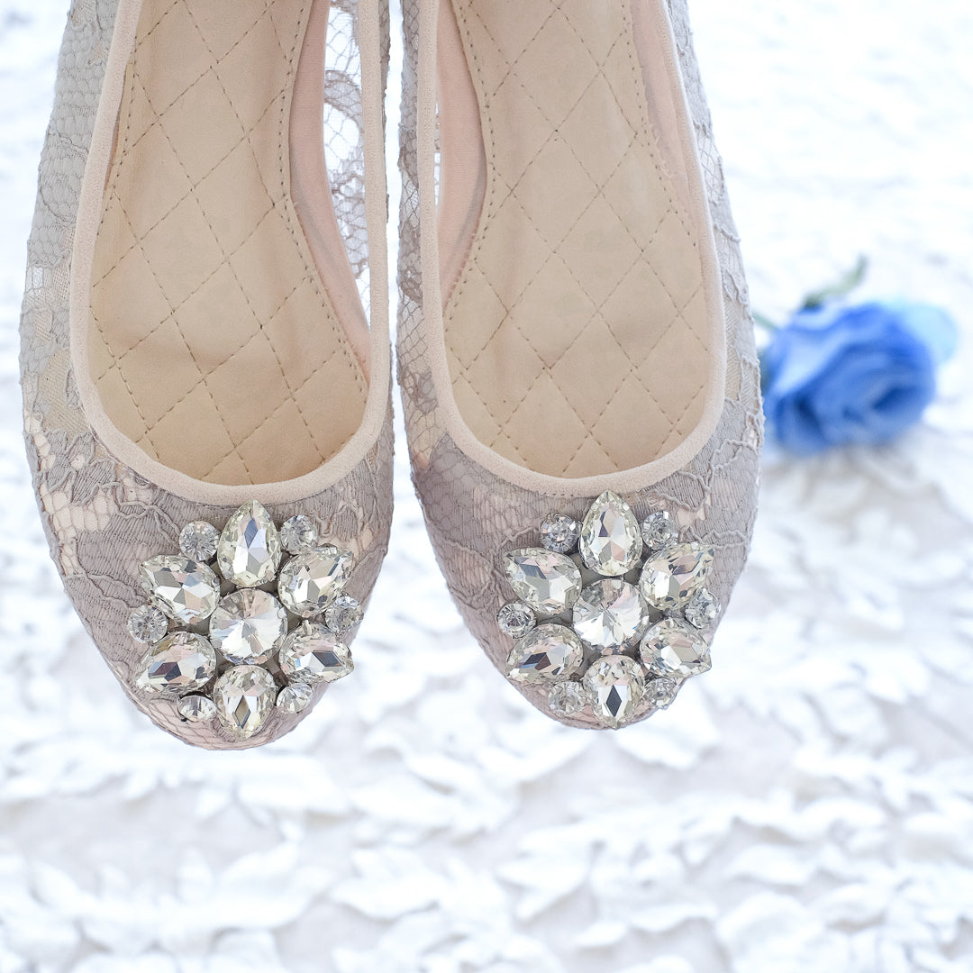 46630079ef27 ... BALLET LACE FLAT SHOES WITH SWAROVSKI CRYSTAL - GREY ...