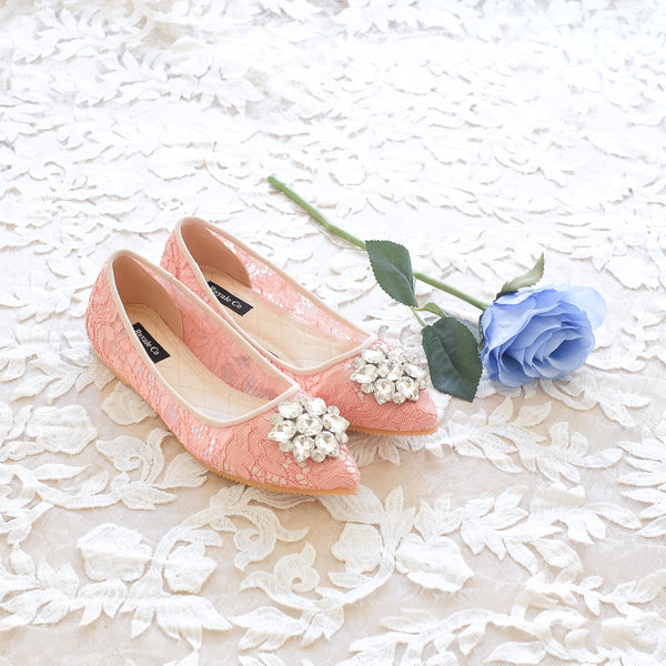 BALLET POINTED LACE FLAT SHOES WITH SWAROVSKI CRYSTAL - SALMON PEACH