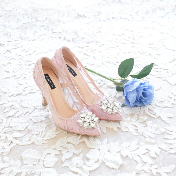 ARROW LACE POINTED HEELS 9CM WITH SWAROVSKI CRYSTAL - BABY PINK