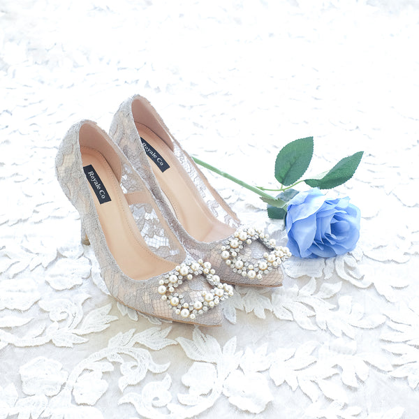 COCO LACE POINTED HEELS 9CM WITH PEARL CRYSTAL - GREY