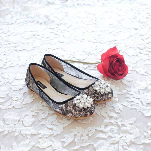BALLET CHANTILLY LACE FLAT SHOES WITH SWAROVSKI CRYSTAL - BLACK