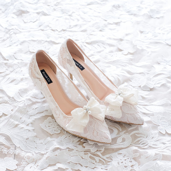 RIBBON LACE POINTED LACE HEELS WITH RIBBON PEARL CRYSTAL 7CM - WHITE