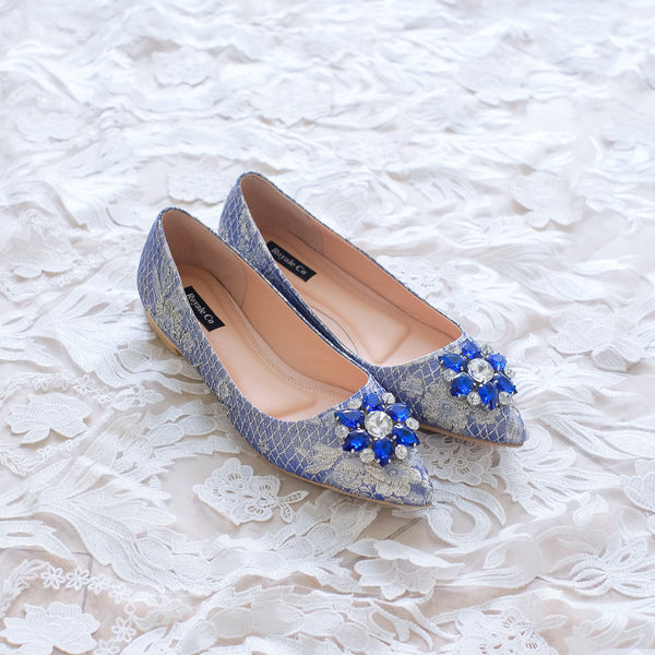 POINTY JACQUARD FLAT SHOES WITH SWAROVSKI CRYSTALS - BLUE GOLD