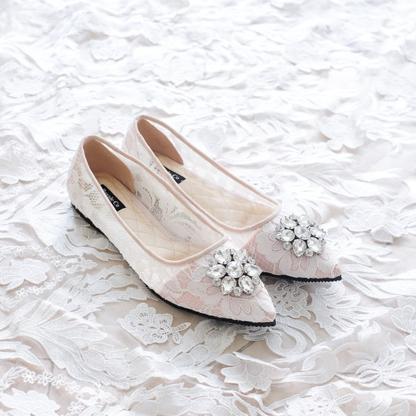 POINTY LACE FLAT SHOES WITH SWAROVSKI CRYSTALS - WHITE