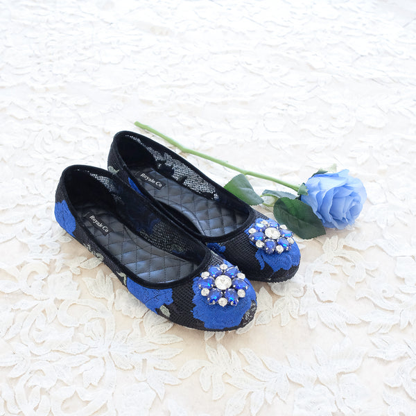 BALLET FLOWER LACE FLAT SHOES WITH SWAROVSKI CRYSTAL - ELECTRIC BLUE
