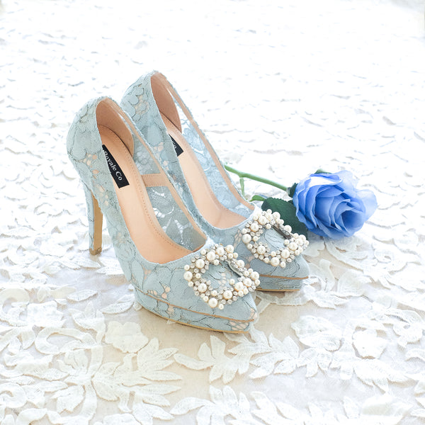 COCO LACE POINTED DOUBLE PLATFORM HEELS 12CM WITH PEARL CRYSTAL - BABY BLUE