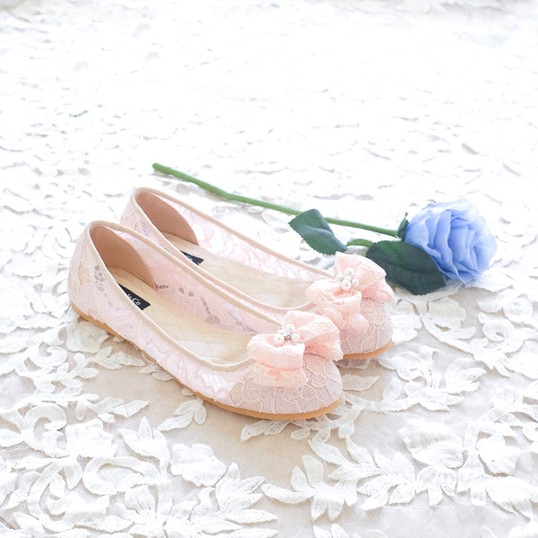 BALLET LACE FLAT SHOES WITH RIBBON PEARL CRYSTAL - BABY PINK