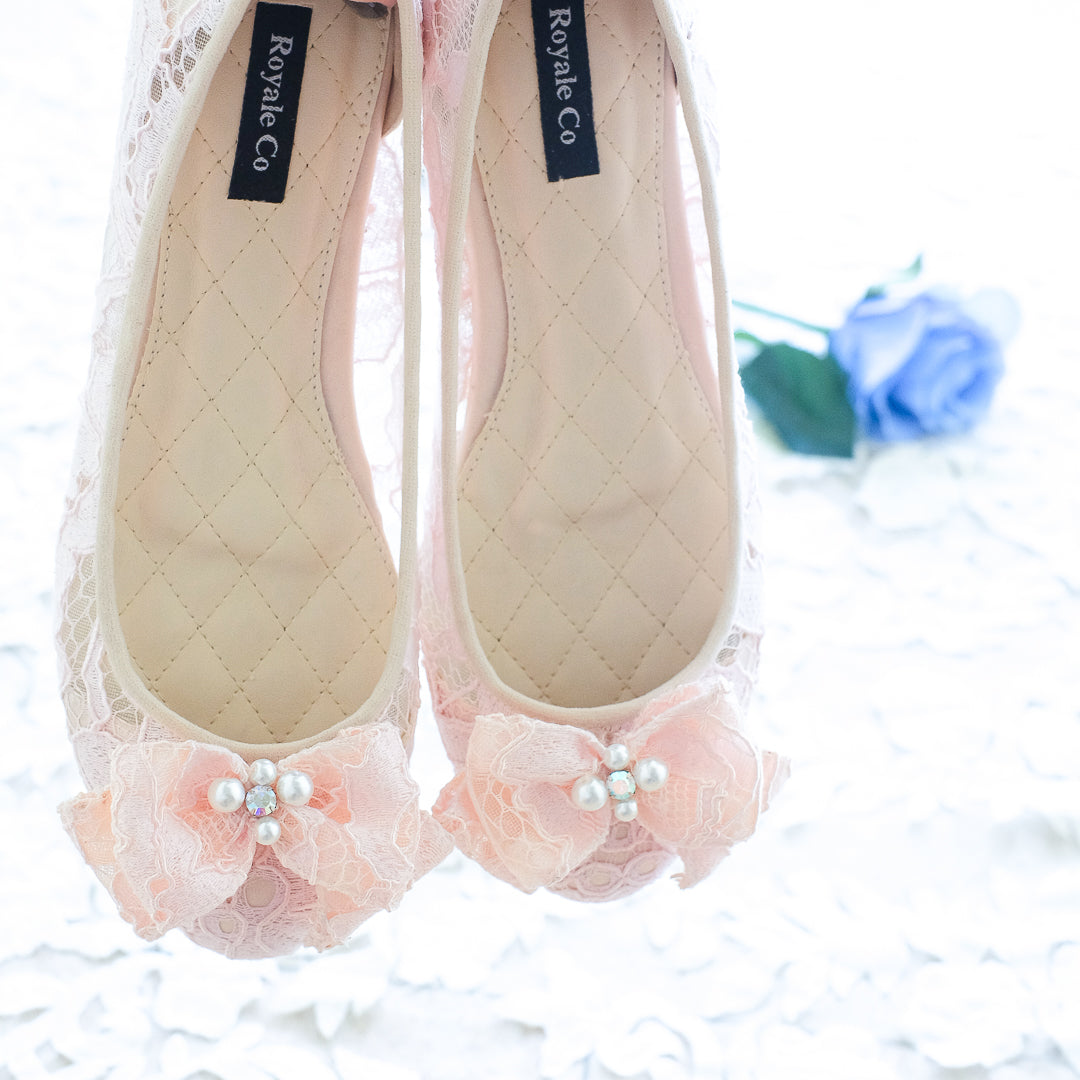 e08497be92c27 BALLET LACE FLAT SHOES WITH RIBBON PEARL CRYSTAL - BABY PINK