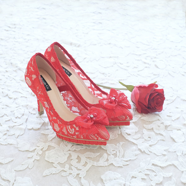 RIBBON LACE POINTED DOUBLE PLATFORM HEELS 12CM WITH RIBBON PEARL CRYSTAL - RED