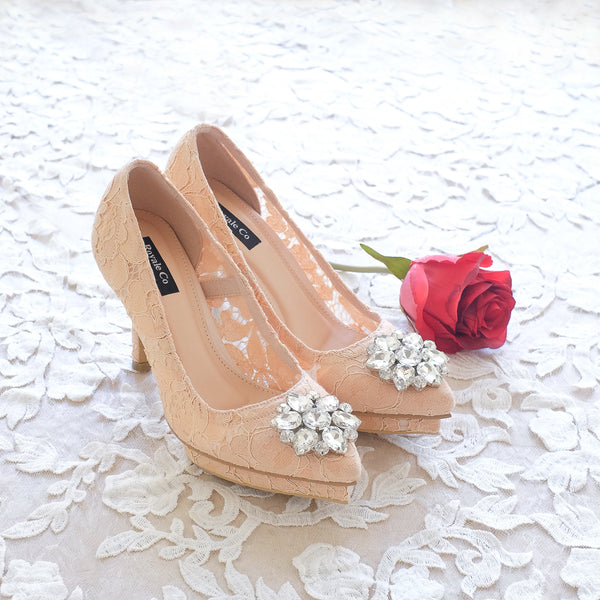 MADEMOISELLE LACE POINTED DOUBLE PLATFORM HEELS 10CM WITH SWAROVSKI CRYSTAL - NUDE