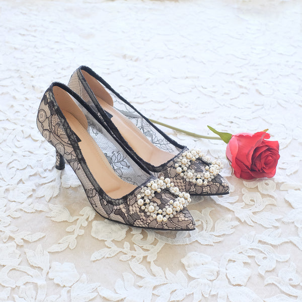 COCO CHANTILLY LACE POINTED HEELS 7CM WITH PEARL CRYSTAL - BLACK